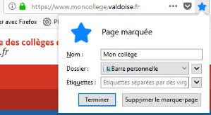 Navigateur Firefox - Ajouter aux Favoris